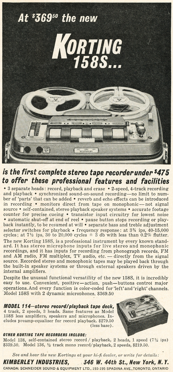 1961 ad for Korting reel to reel tape recorders in Phantom productions' vintage recording collection