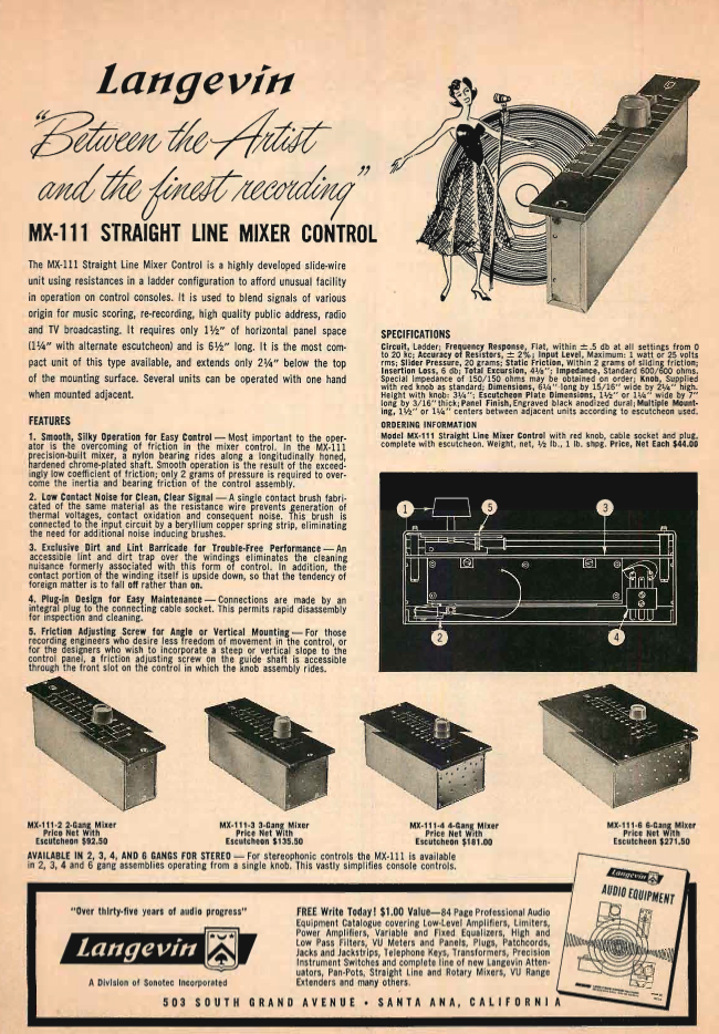 1961 ad for Langevin console controls in  Reel2ReelTexas.com's vintage recording collection