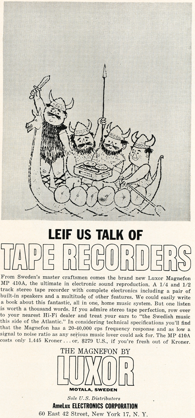 1961 ad for the Luxor reel to reel tape recorder in Phantom Productions' vintage recording collection