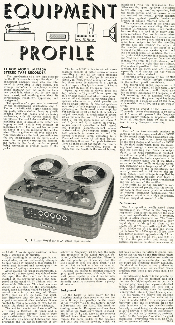 1961 review of the Luxor reel to reel tape recorder in Reel2ReelTexas.com's vintage recording collection