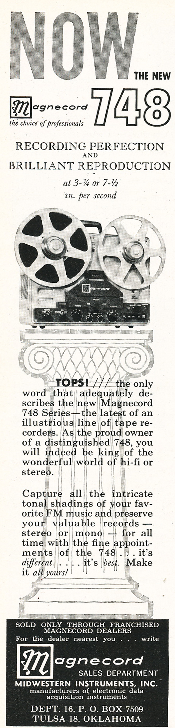 1961 ad for the Magnecord 748 professional reel to reel tape recorder in Reel2ReelTexas.com's vintage recording collection