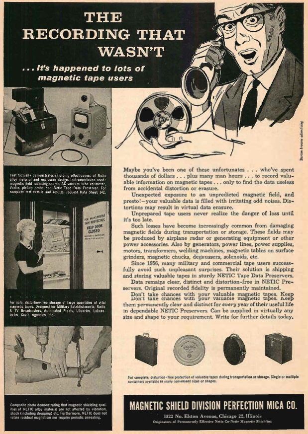 1961 ad for Magnetic  Shield in Reel2ReelTexas.com's vintage recording collection