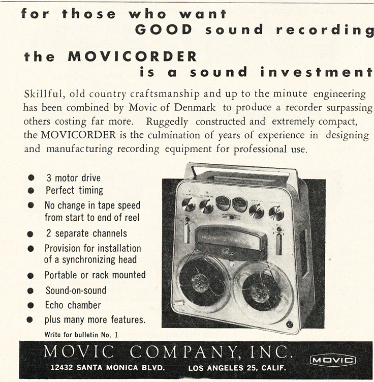 1961 ad for Movic reel to reel tape recorder in Phantom Productions' vintage recording collection