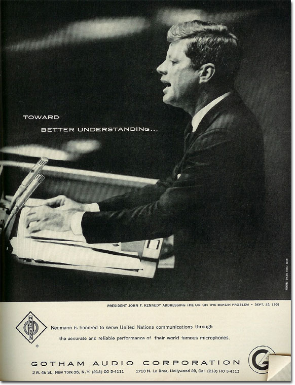 picture of 1961 Gotham Neumann microphone ad with John F.Kennedy