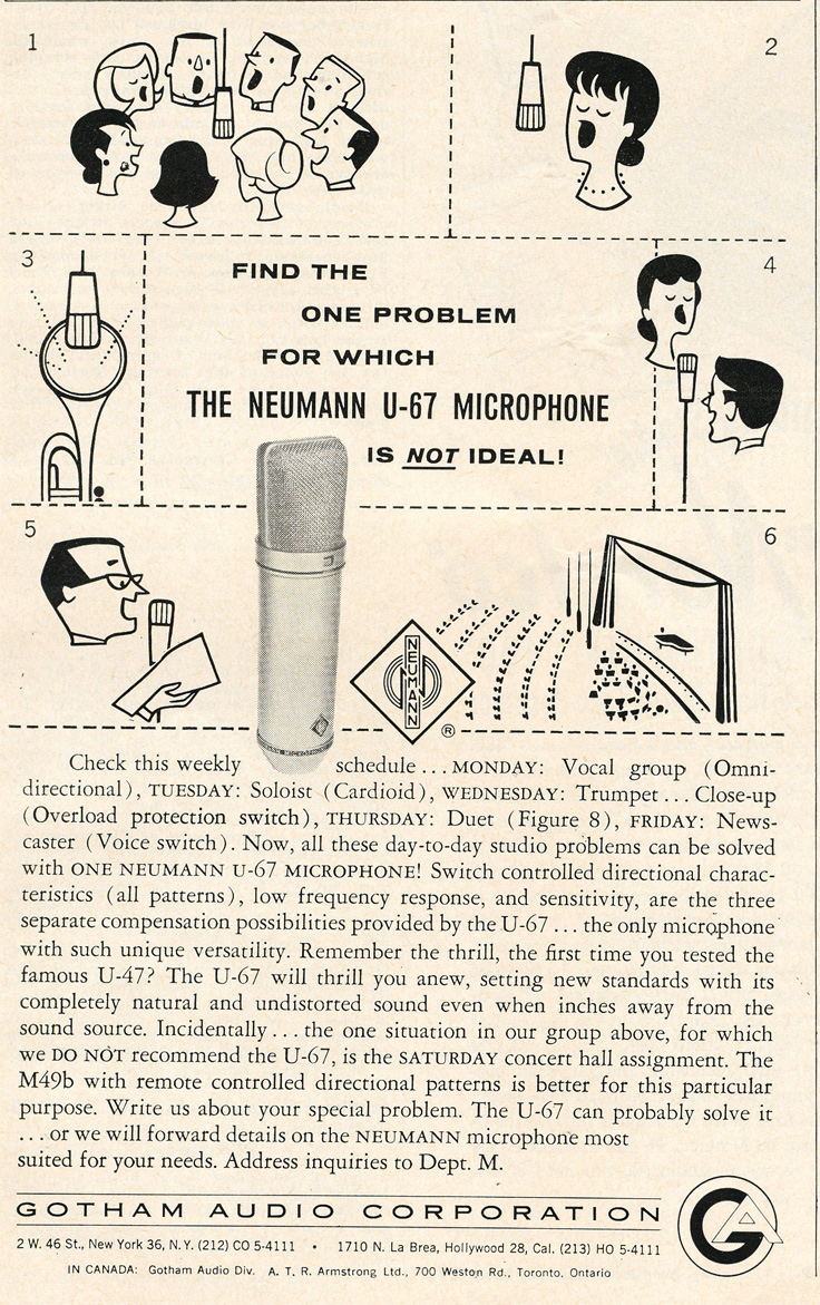 1961 ad for the Neumann U-67 microphone in   Reel2ReelTexas.com's vintage recording collection