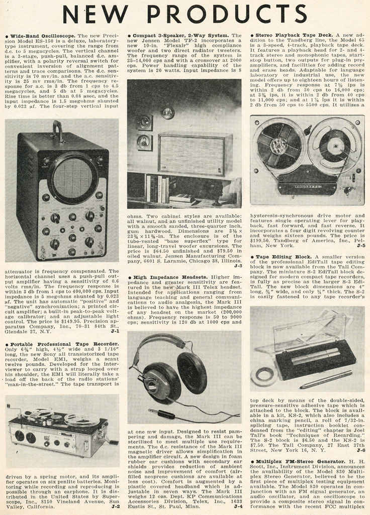 1961 Listing of new products in Phantom productions'vintage recording collection