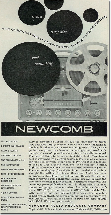 picture of 1961 Newcomb reel to reel tape recorder ad