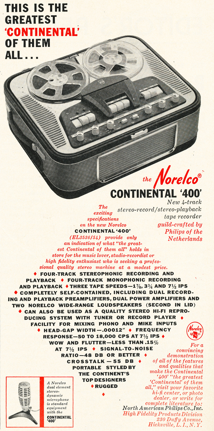 1961 ad for the Norelco 400 reel to reel tape recorder in Reel2ReelTexas.com's vintage recording collection