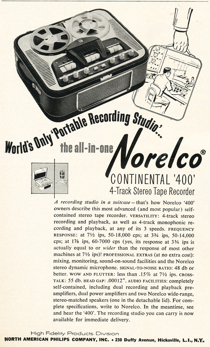 1961 ad for Norelco Continental 400 reel to reel tape recorder in   Reel2ReelTexas.com's vintage recording collection