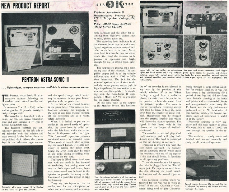 1961 review of the Pentron AstroSonic II reel to reel tape recorder in Reel2ReelTexas.com's vintage recording collection