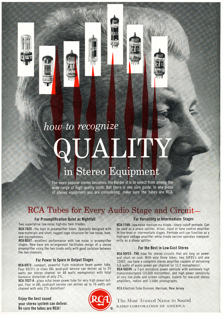 1961 ad for RCA tubes in Phantom Productions' vintage recording collection