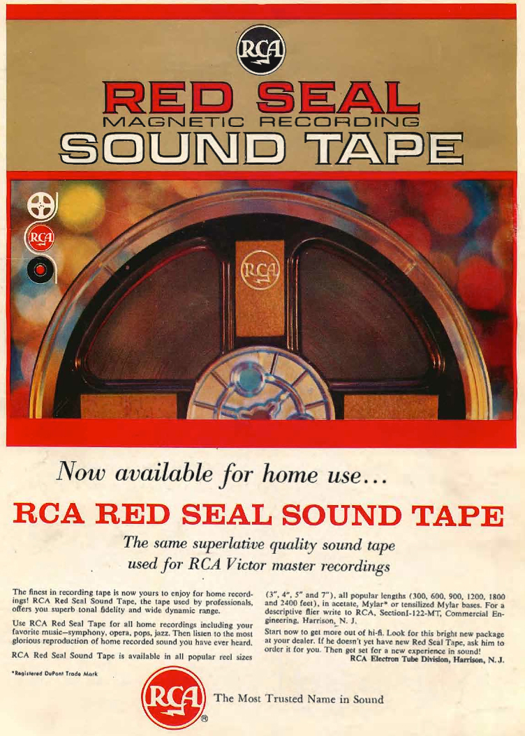 1961 ad for RCA Red Seal reel to reel recording tape in Reel2ReelTexas.com's vintage recording collection