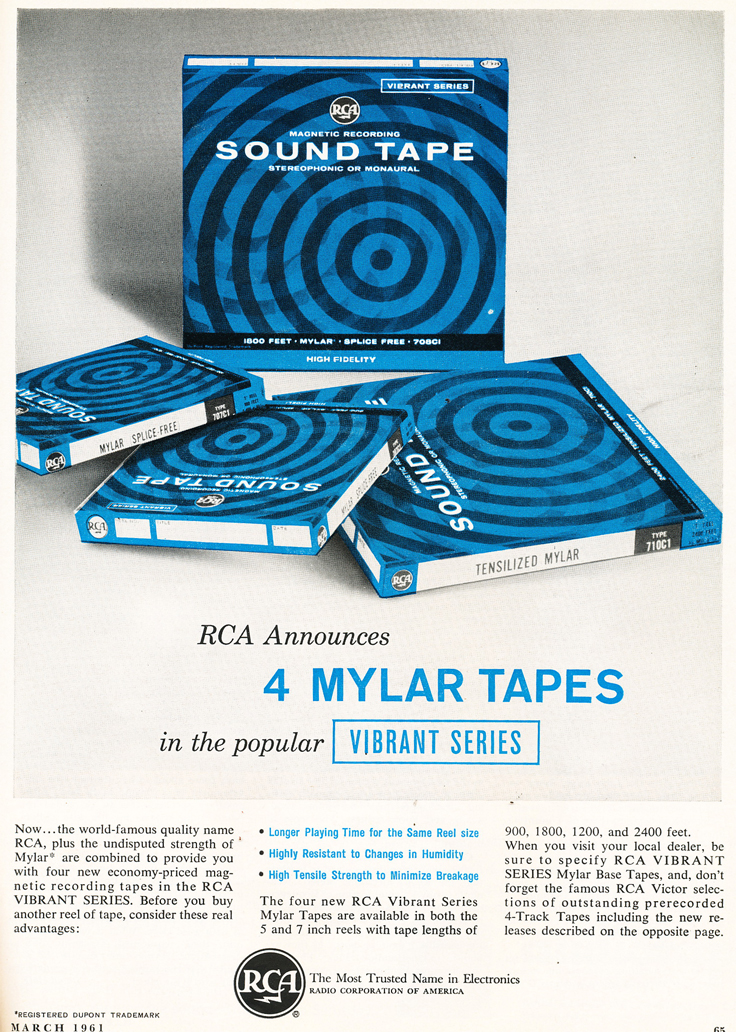 1961 ad for RCA Mylar reel to reel recording tape in Reel2ReelTexas.com's vintage recording collection