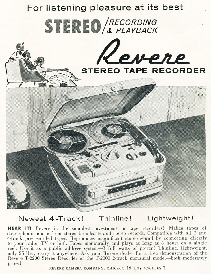 1961 Revere reel tape recorder ad in Reel2ReelTexas.com's vintage recording collection