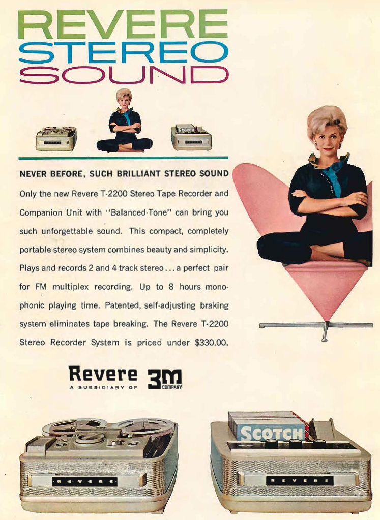 1961 Revere reel to reel tape recorder ad in the Phantom Productions vintage recording collection
