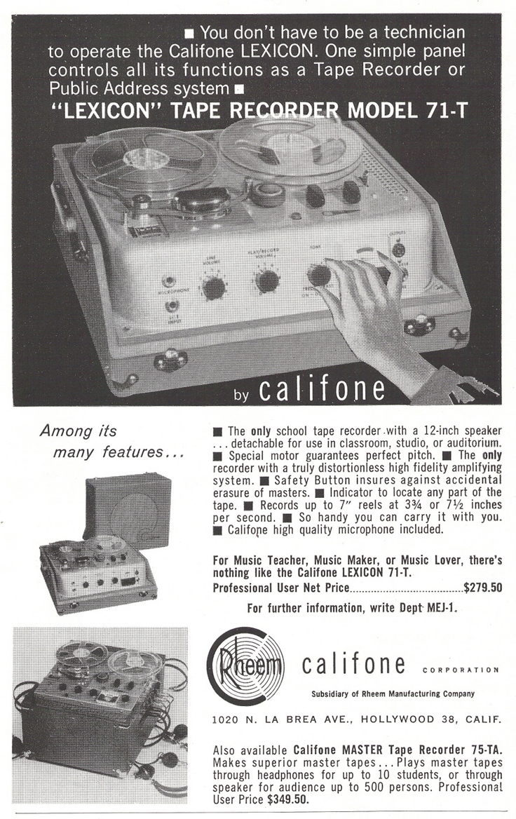 1961 ad for the Rheem Califone 71 T reel tp reel tape recorder in Phantom Productions' vintage recording collection