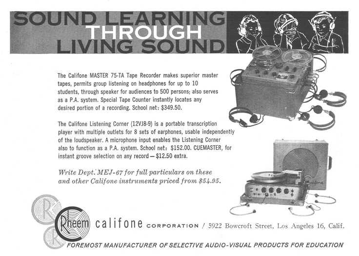 1961 ad for the Rheem Califone 75TA reel tp reel tape recorder in Phantom Productions' vintage recording collection