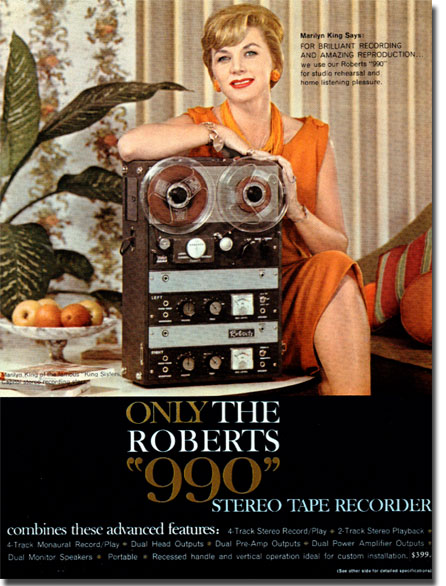 1961 Roberts 990 reel to reel tape recorder ad featuring Marilyn King in the Phantom Productions vintage recording collection