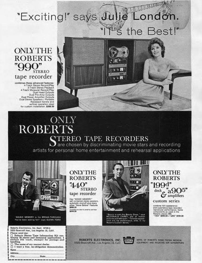 1961 Roberts 990 reel to reel tape recorder ad featuring Julie London, John Ford and McDonald Carey in the Phantom Productions vintage recording collection