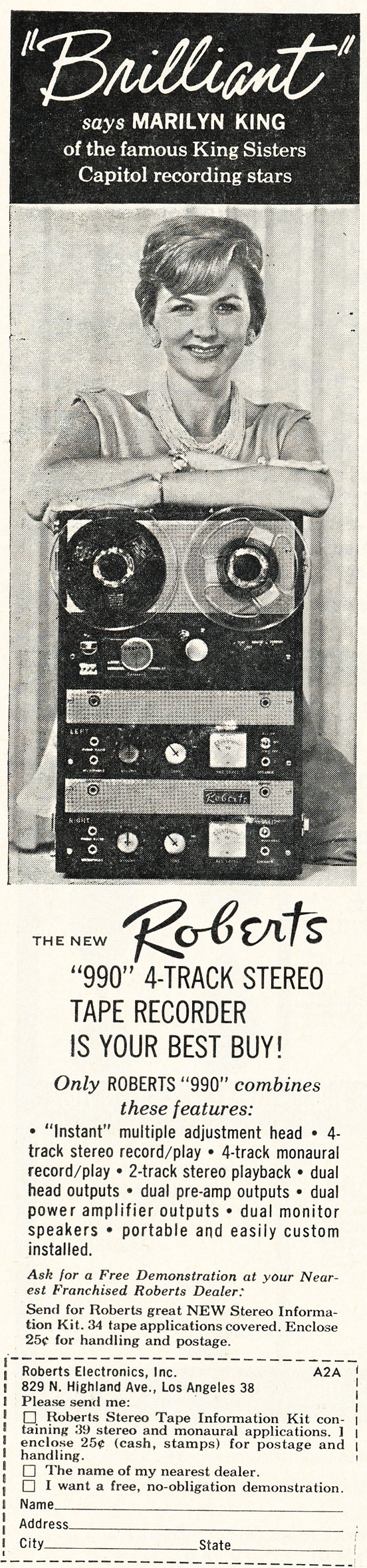 1961 ad for the Roberts 990 reel to reel tape recorder featuring Marilyn King in Reel2ReelTexas.com's vintage recording collection