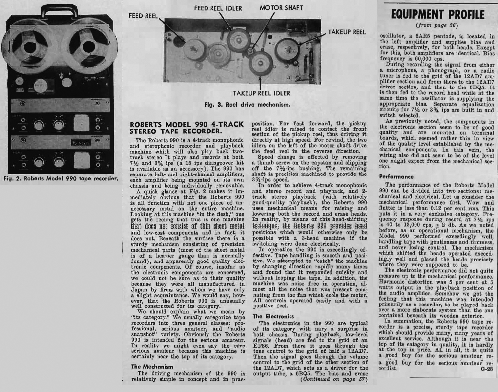 1961 review of the Roberts 990 reel to reel tape recorder  in Reel2ReelTexas.com's vintage recording collection