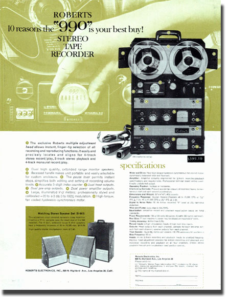 1961 Roberts 990 reel to reel tape recorder ad in the Phantom Productions vintage recording collection
