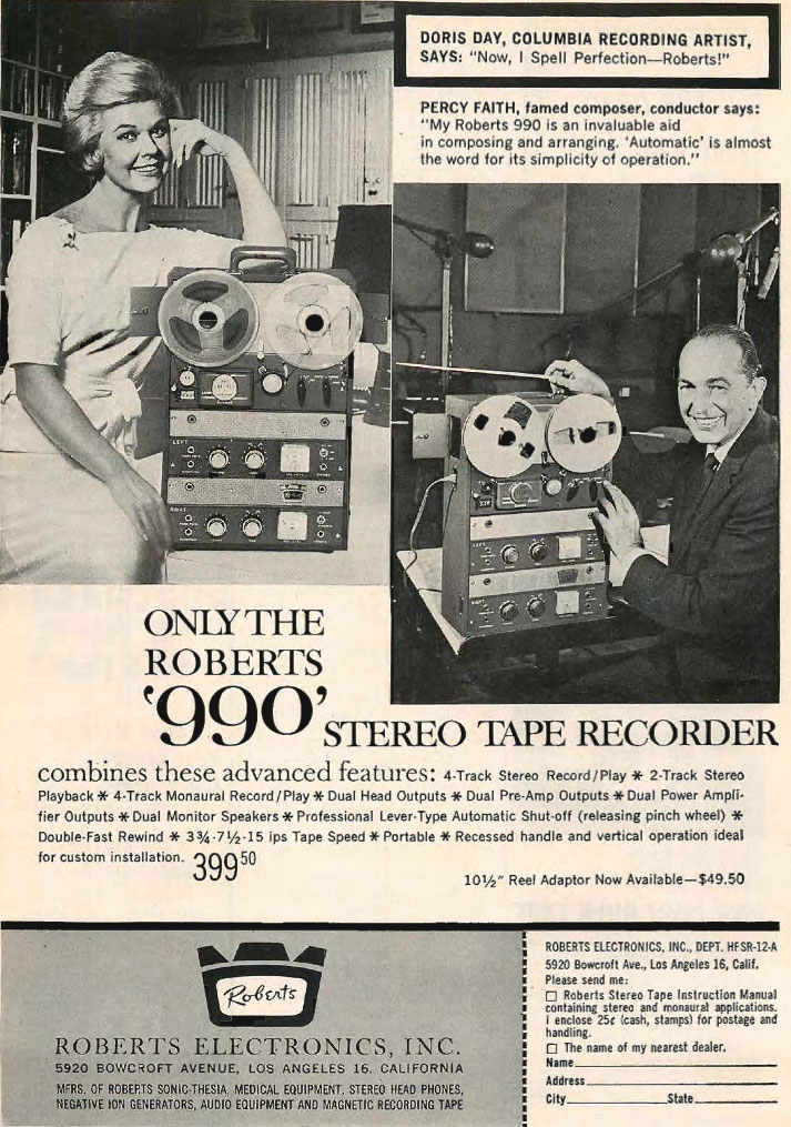 1961 Roberts 990 reel to reel tape recorder ad featuring Doris Day and Percy Faith in the Phantom Productions vintage recording collection