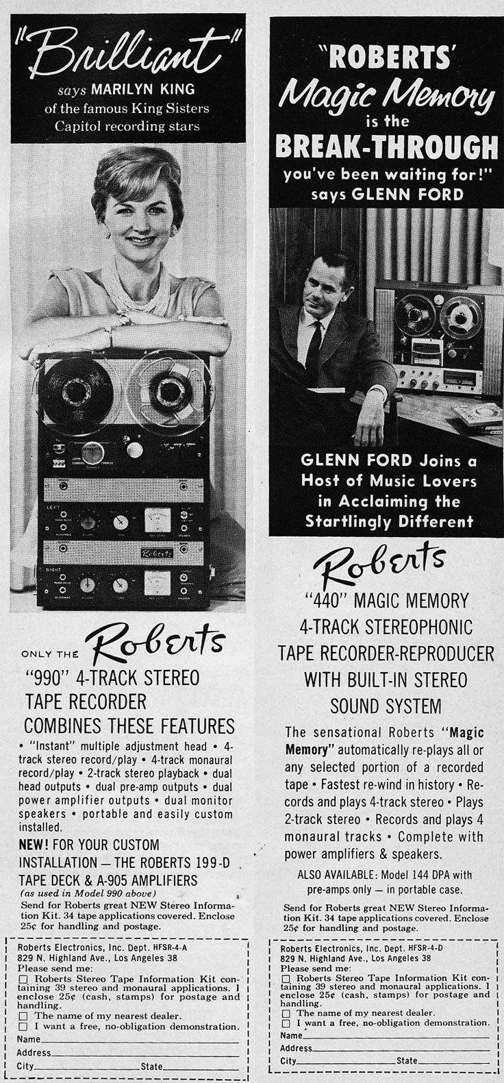 1961 ad for the Roberts 990 reel to reel tape recorder featuring Marilyn King and Glenn Ford in Reel2ReelTexas.com's vintage recording collection