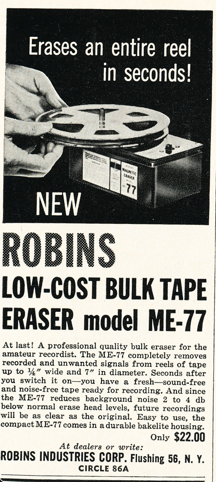 1961 ad for Robins Bulk tape eraser M-77 in Reel2ReelTexas.com's vintage recording collection