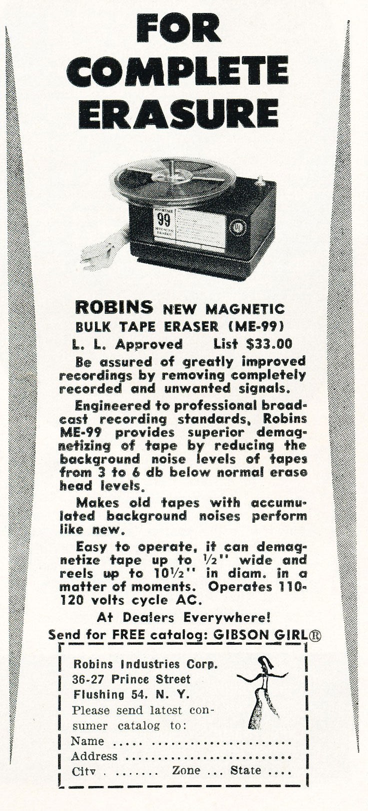 1961 ad for Robins tape recording accessories in Phantom Productions' vintage recording collection