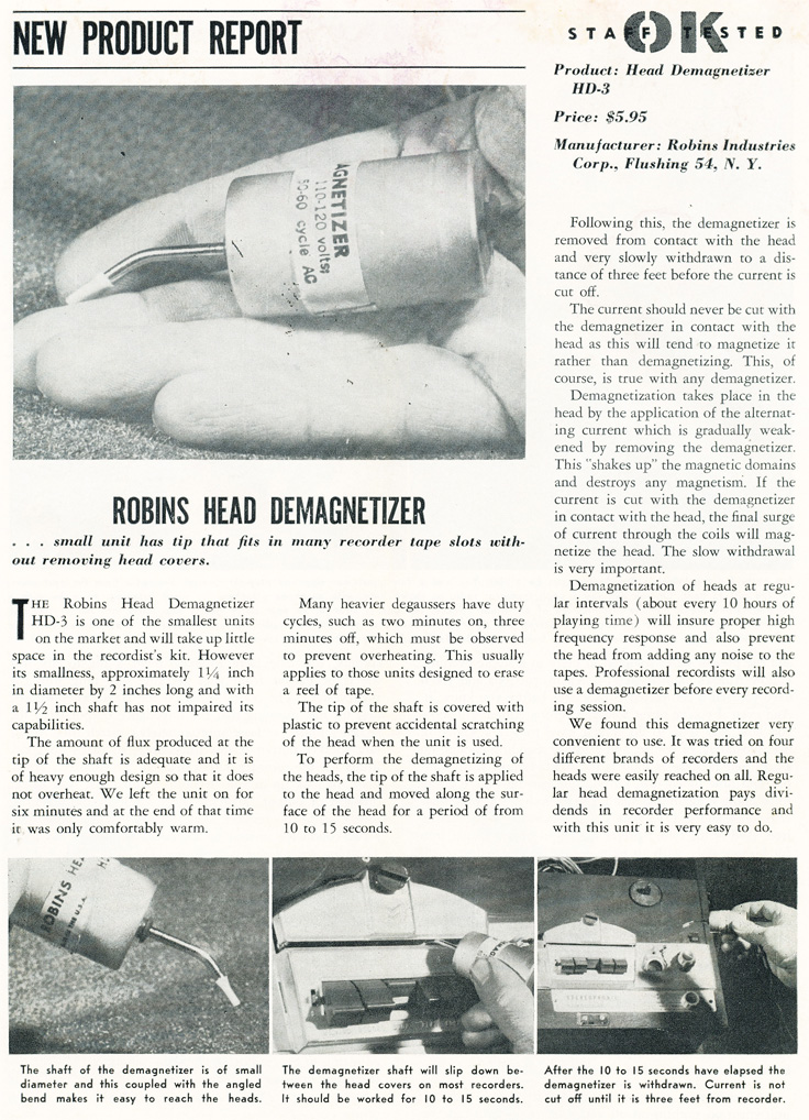 1961 review of the Robins tape recorder head demagnetizer in Reel2ReelTexas.com's vintage recording collection