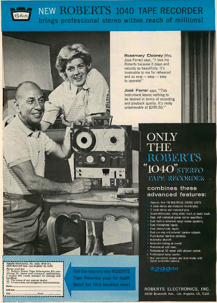 1961 Roberts 1040 reel to reel tape recorder ad featuring Rosemary Clooney and Jose Ferrer in the Phantom Productions vintage recording collection