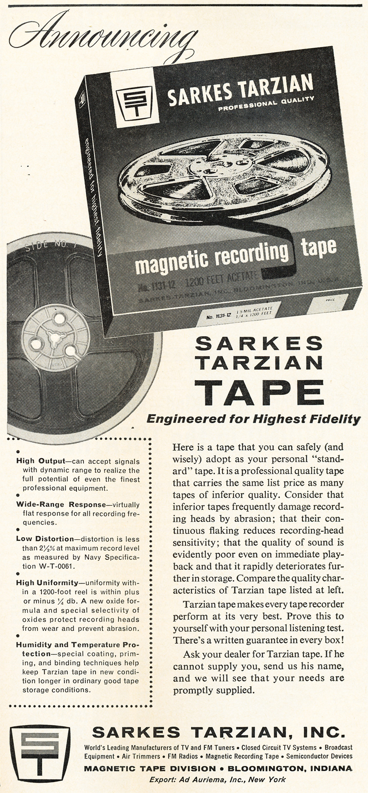 1961 ad for Sarkes Tarzian reel to reel recording tape in Reel2ReelTexas.com's vintage recording collection