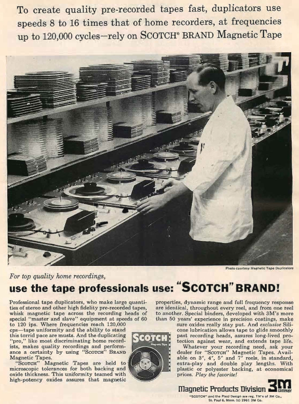1961 ad for 3M's Scotch reel to reel duplication system in Reel2ReelTexas.com's vintage recording collection