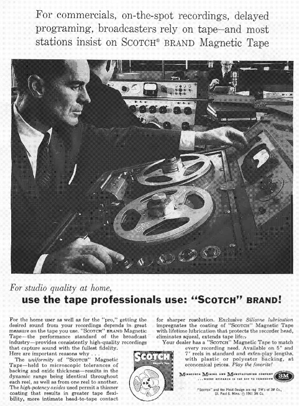 1961 ad for 3M's Scotch reel to reel recording tape in Reel2ReelTexas.com's vintage recording collection