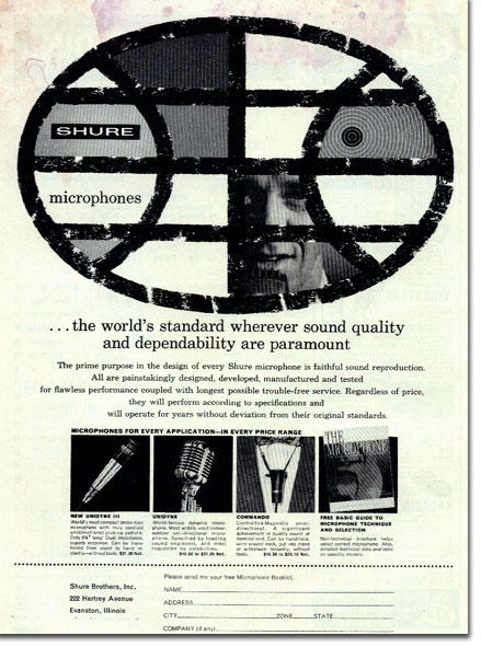 picture of Shure ad in 1961