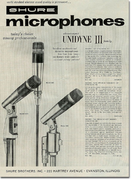 picture of 1961 Shure microphone ad