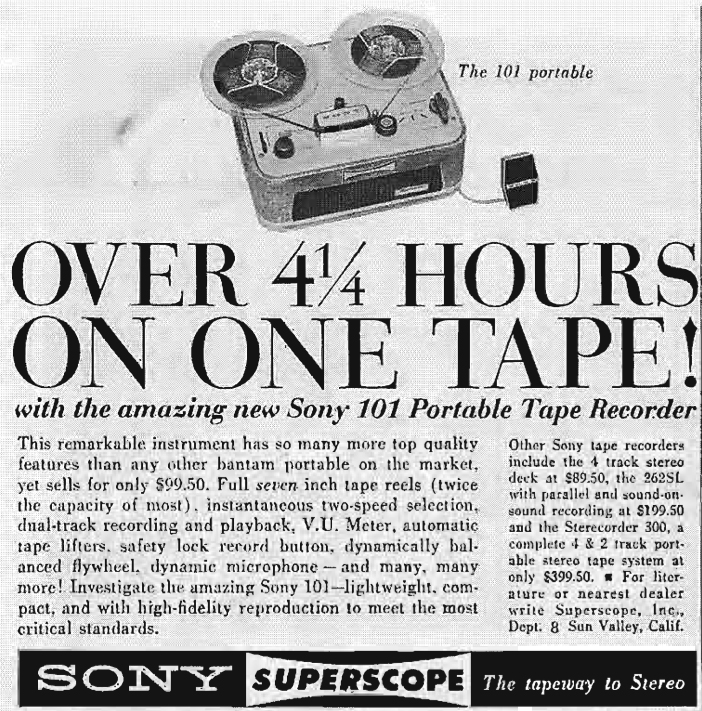 1961 ad for the Sony 101 reel to reel tape recorders in  Phantom Productions vintage recording collection
