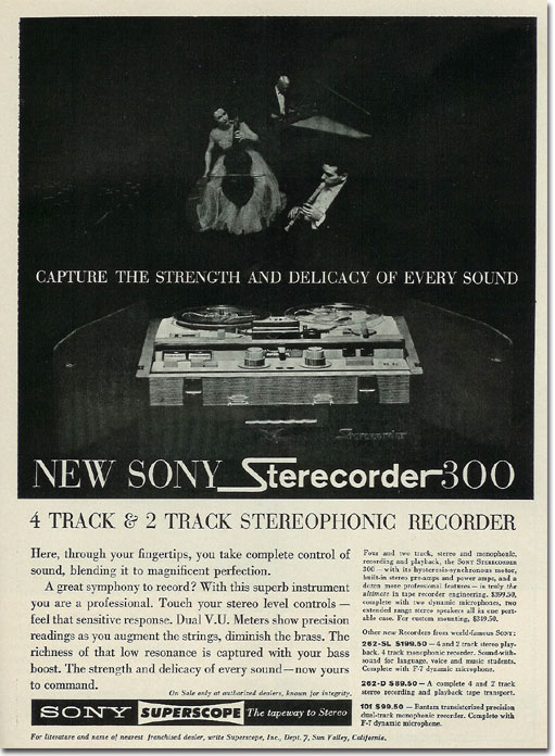 picture of 1961 Sony reel to reel tape recorder ad