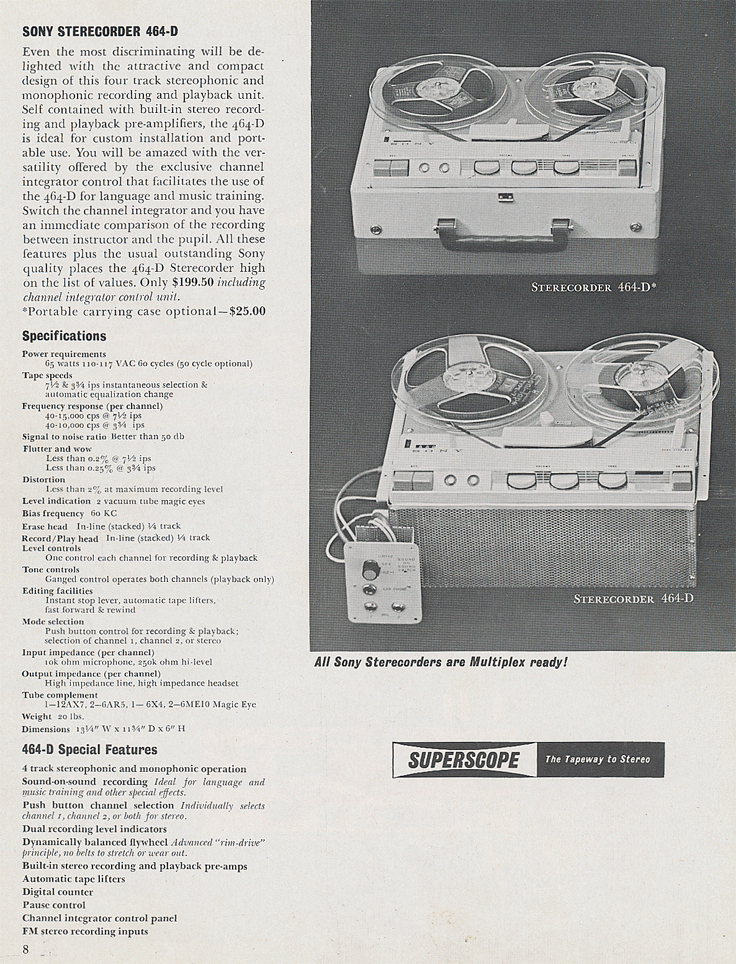 Sony Sterecorder 464-D in 1961 Sony catalog in   Phantom Productions vintage reel tape recorder collection