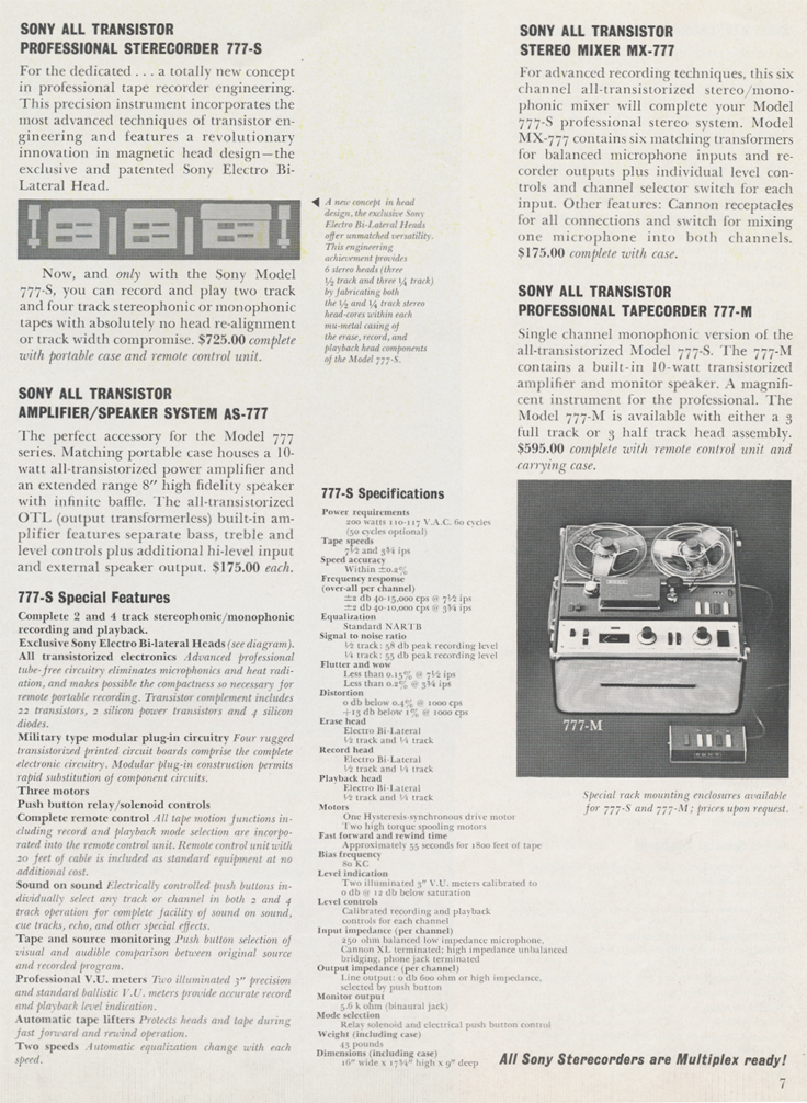 Sterecorder 777 specifications in 1961 Sony catalog in Phantom productions vintage reel tape recorder collection