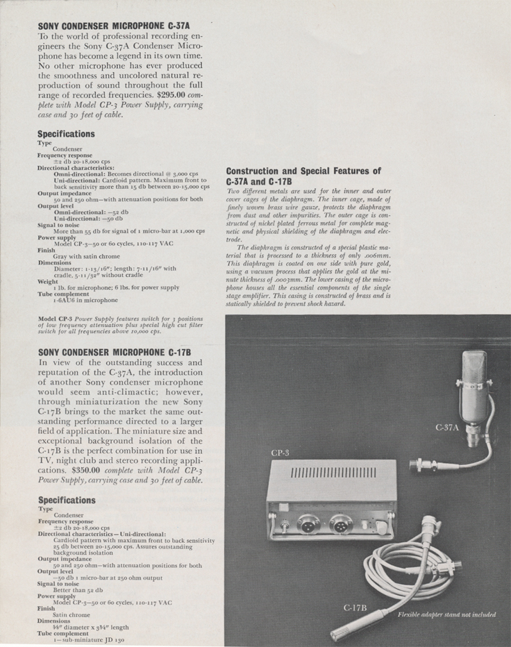 Sony C37A microphone in 1961 Sony catalog in Phantom productions vintage reel tape recorder collection