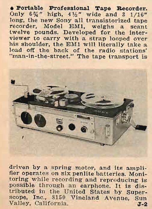 1961 review of the Sony EMI portable professional broadcast reel to reel tape recorder in the Reel2ReelTexas.com's vintage recording collection