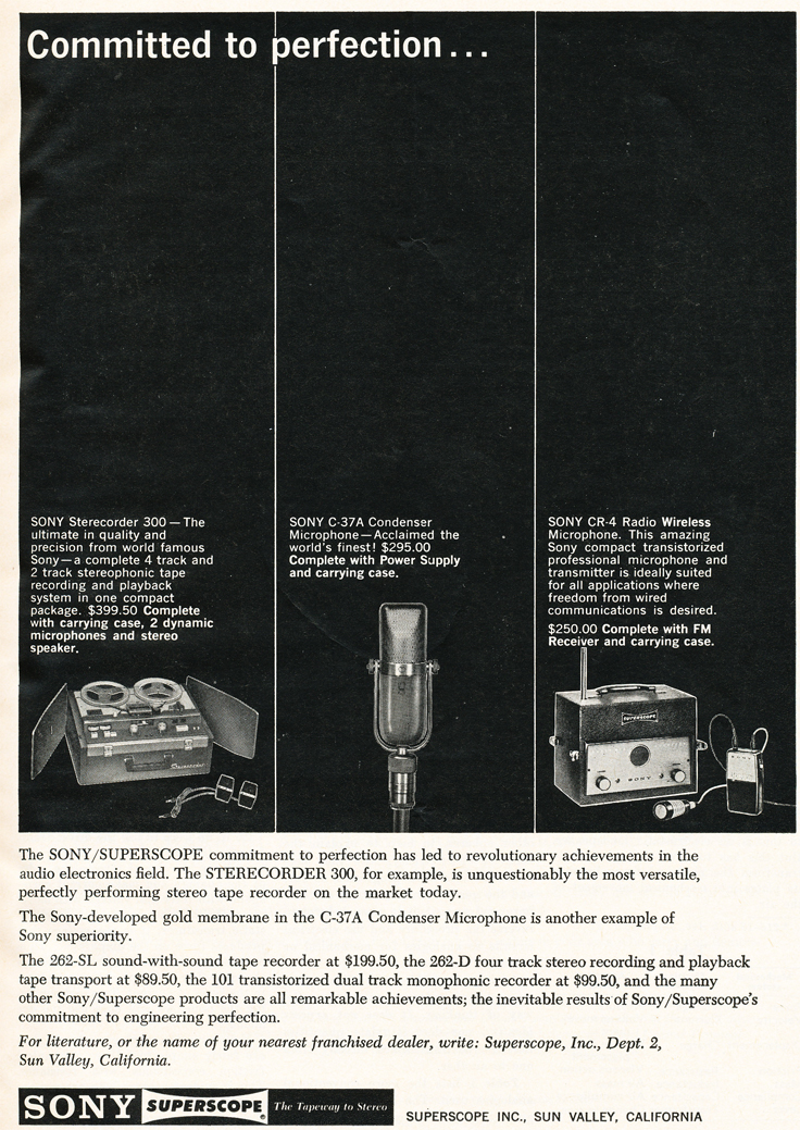 1961 ad for Sony professional audio products in Phantom Productions' vintage recording collection