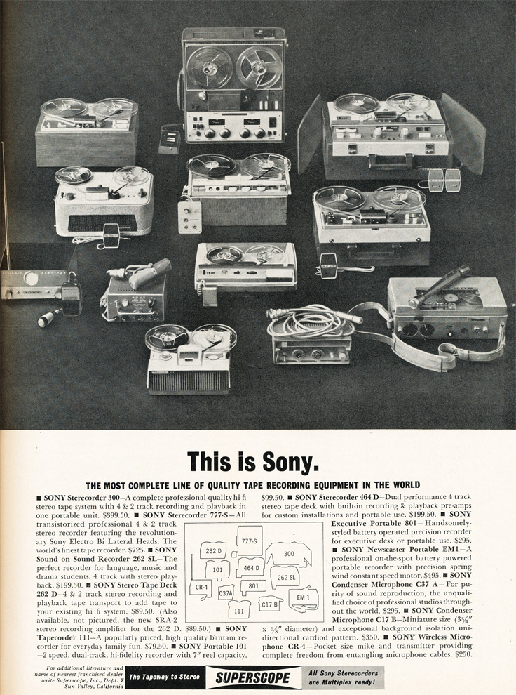 1961 ad for the Sony line of reel to reel tape recorders in Phantom productions vintage recording collection