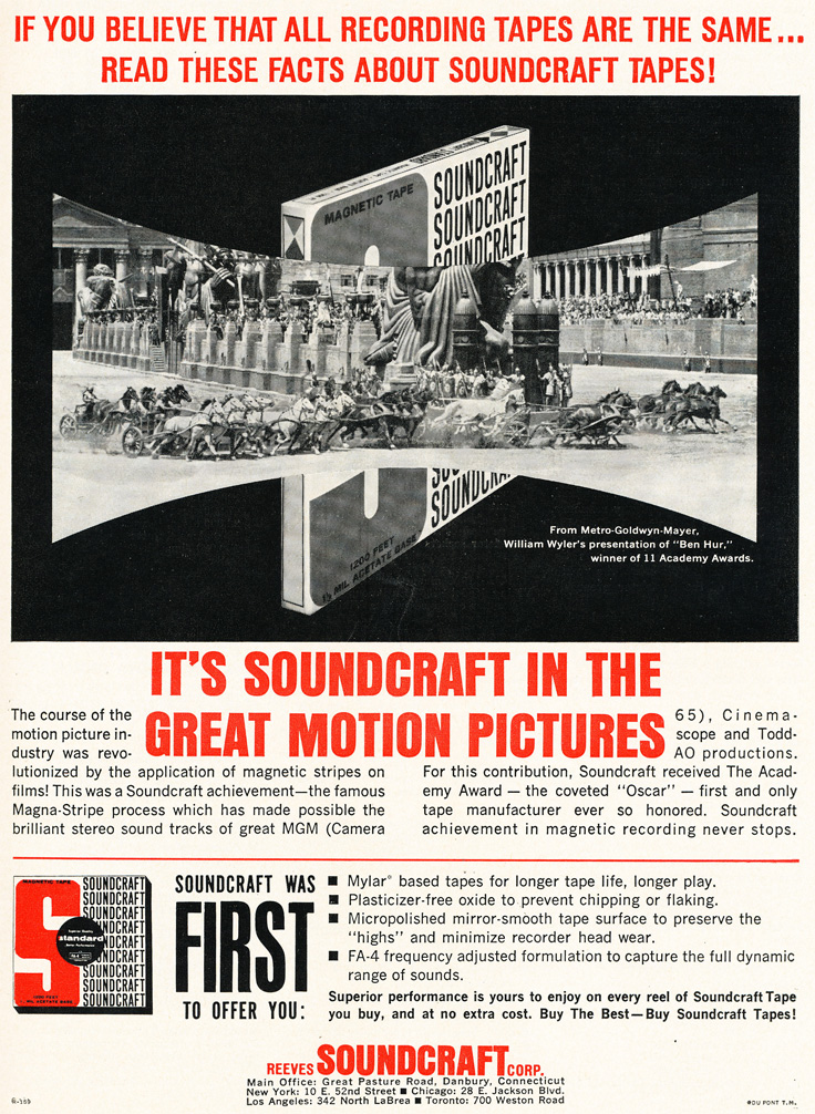 1961 ad for Soundcraft reel to reel recording tape in Phantom Productions' vintage recording collection