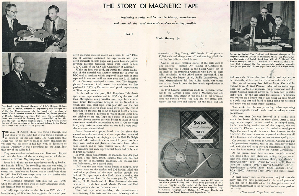 1961 HiFi Tape Recording magazine article oStory of Magnetic Tape