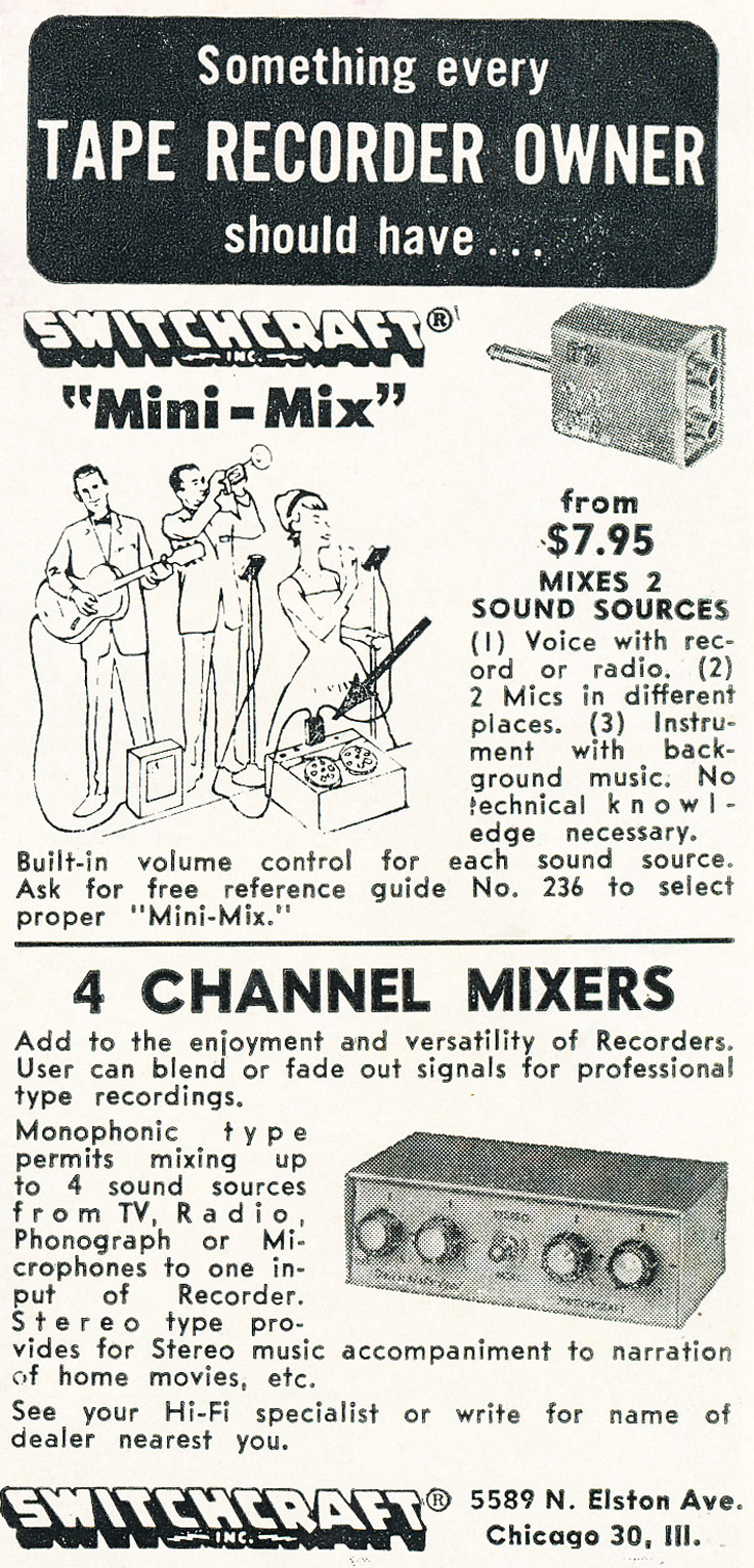 1961 ad for Switchcraft accessories in Reel2ReelTexas.com's vintage recording collection