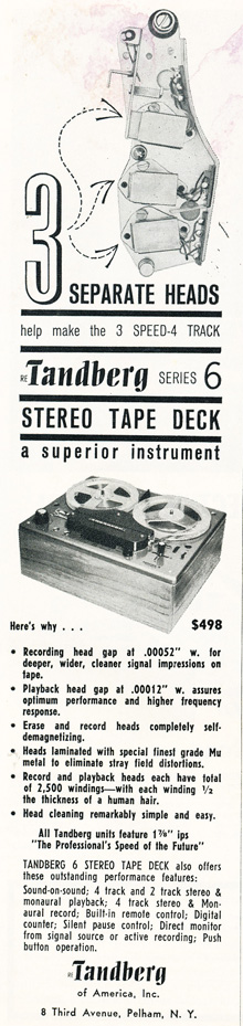 1961 ad for Tandberg reel to reel tape recorders in Phantom Productions' vintage recording collection