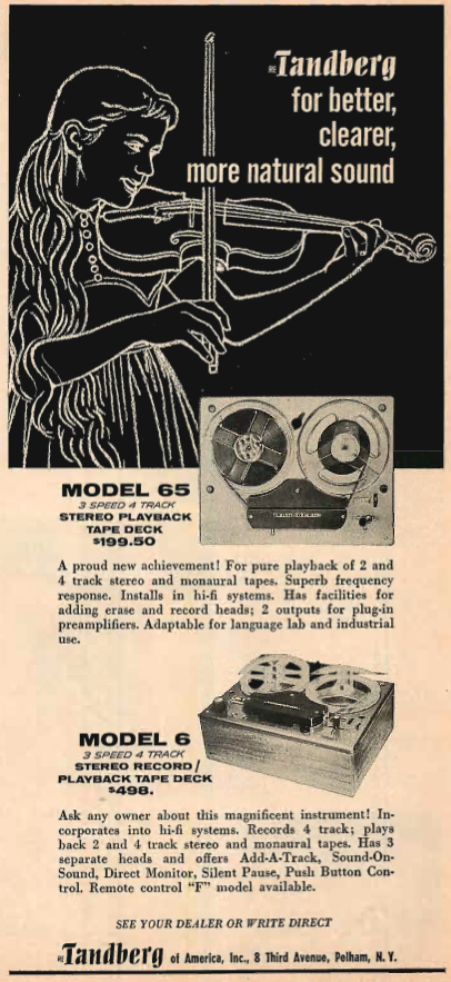 1961 Tandberg Series 65 reel to reel tape recorder ad in the Reel2ReelTexas.com's vintage recording collection